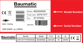 Baumatic typical model number plate